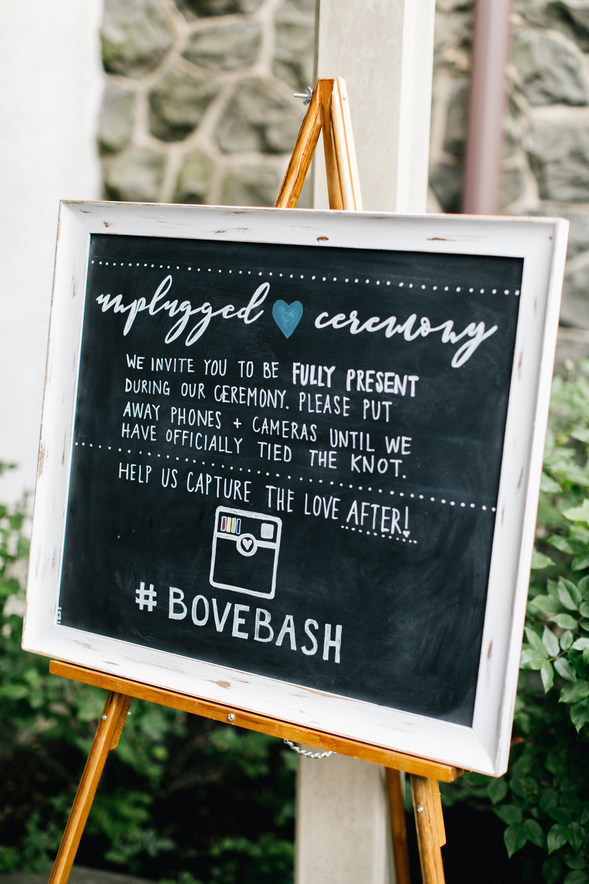 unplugged ceremony chalk sign