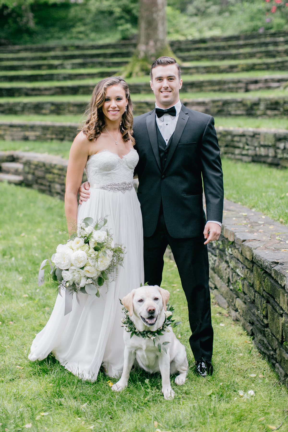Bride & Groom with Dog at Swarthmore College's Amphitheater