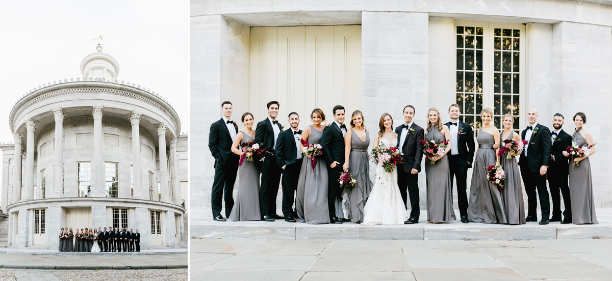 bridal-party-bride-groom-portrait-merchant's-exchange-building