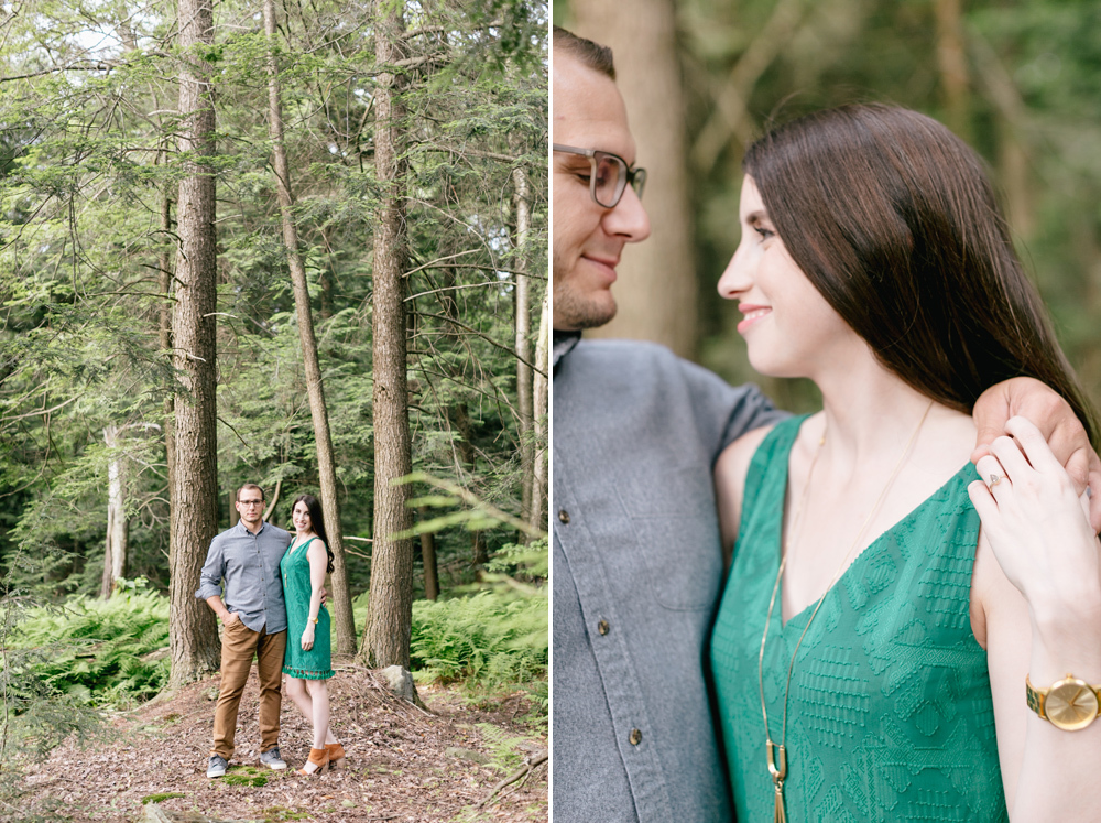Caitln Adam Woodland Waterfall Engagement Session Rickett's Glen State Park Pennsylvania 26