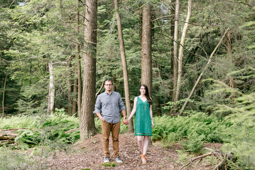 Caitln Adam Woodland Waterfall Engagement Session Rickett's Glen State Park Pennsylvania 27
