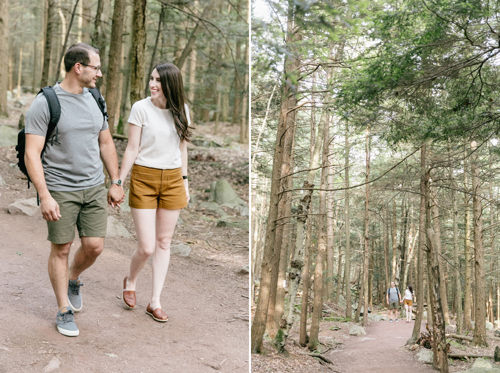 Caitln Adam Woodland Waterfall Engagement Session Rickett's Glen State Park Pennsylvania 30