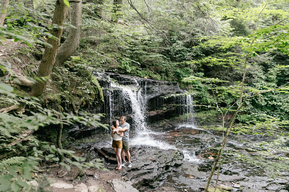 Caitln Adam Woodland Waterfall Engagement Session Rickett's Glen State Park Pennsylvania 31