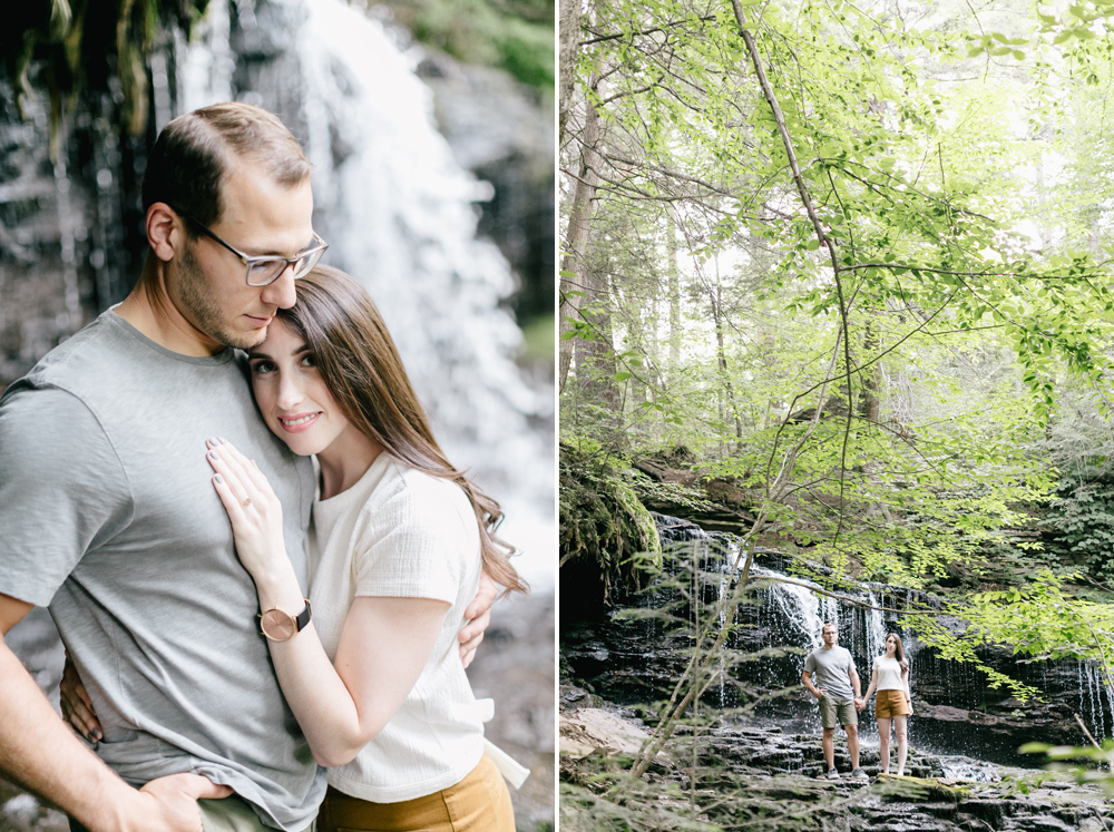 Caitln Adam Woodland Waterfall Engagement Session Rickett's Glen State Park Pennsylvania 34
