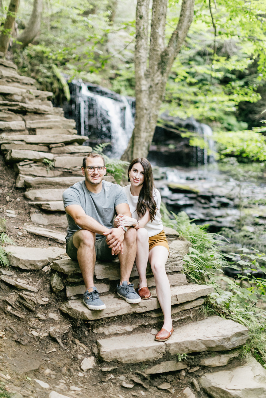 Caitln Adam Woodland Waterfall Engagement Session Rickett's Glen State Park Pennsylvania 36