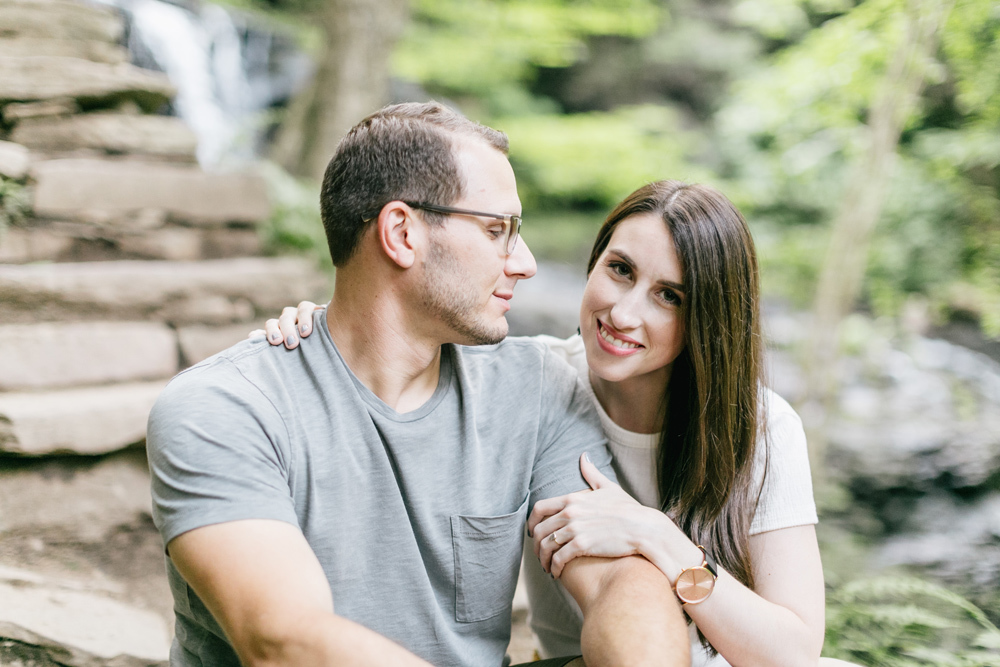 Caitln Adam Woodland Waterfall Engagement Session Rickett's Glen State Park Pennsylvania 37