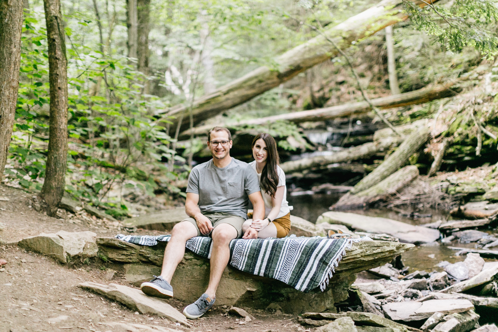 Caitln Adam Woodland Waterfall Engagement Session Rickett's Glen State Park Pennsylvania 38