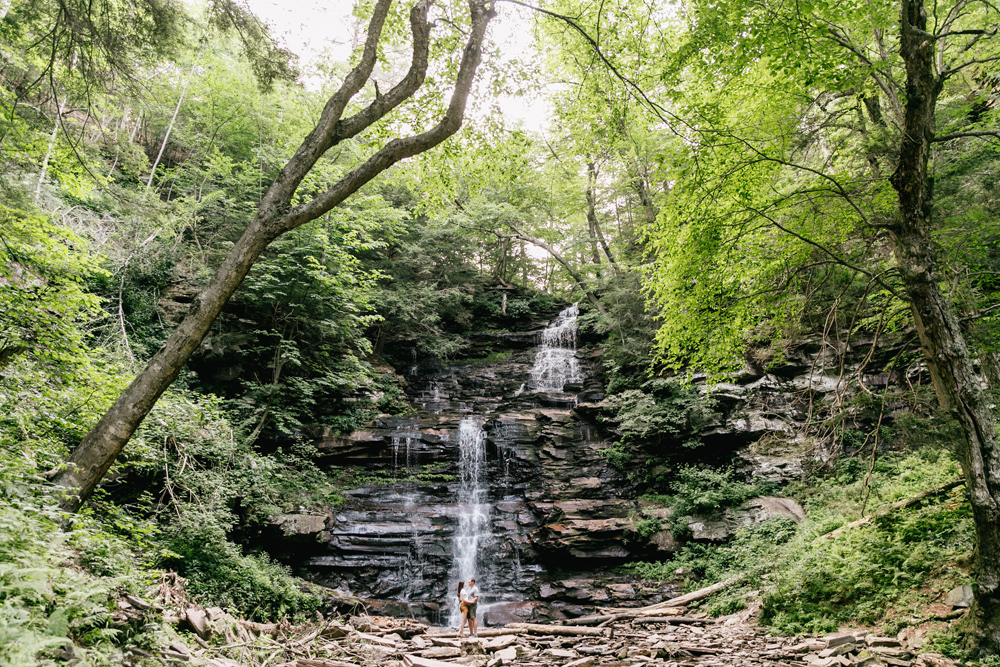 Caitln Adam Woodland Waterfall Engagement Session Rickett's Glen State Park Pennsylvania 43