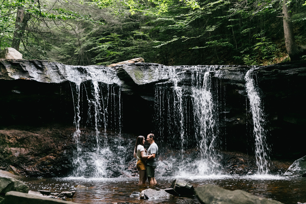 Caitln Adam Woodland Waterfall Engagement Session Rickett's Glen State Park Pennsylvania 47