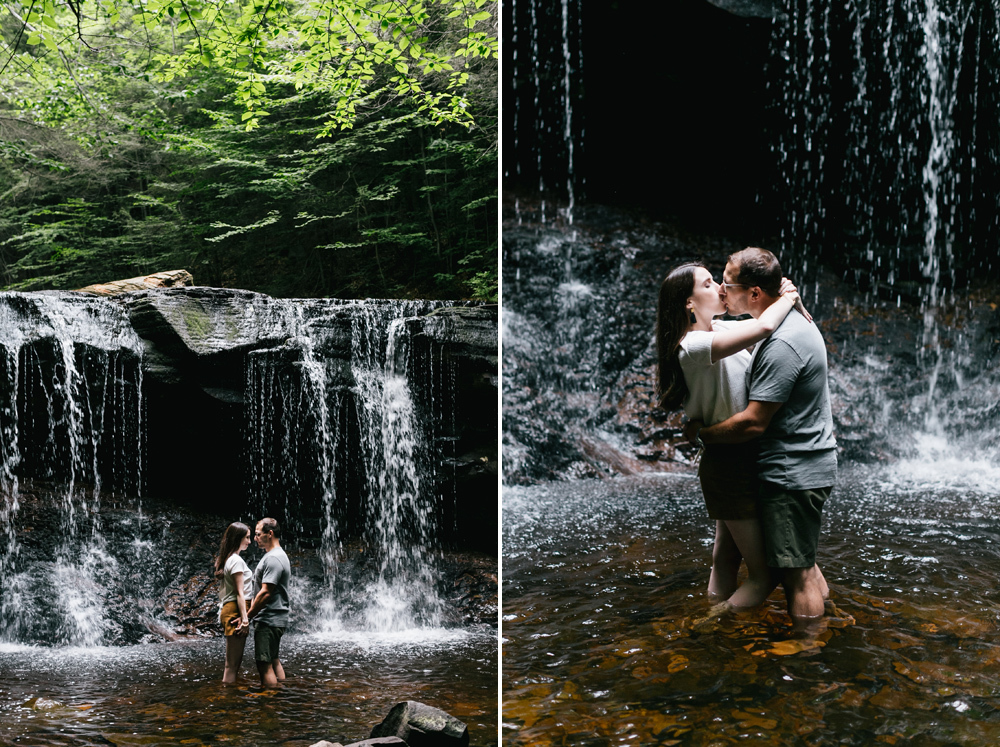 Caitln Adam Woodland Waterfall Engagement Session Rickett's Glen State Park Pennsylvania 48