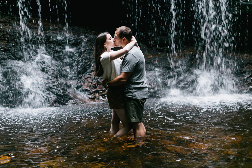 Caitln Adam Woodland Waterfall Engagement Session Rickett's Glen State Park Pennsylvania 49