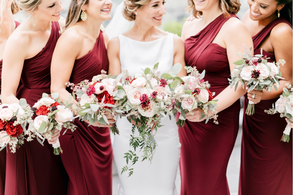 053 Burgandy And White Wedding Bouquet Burgundy Bridesmaid Dress Bride And Bridesmaid