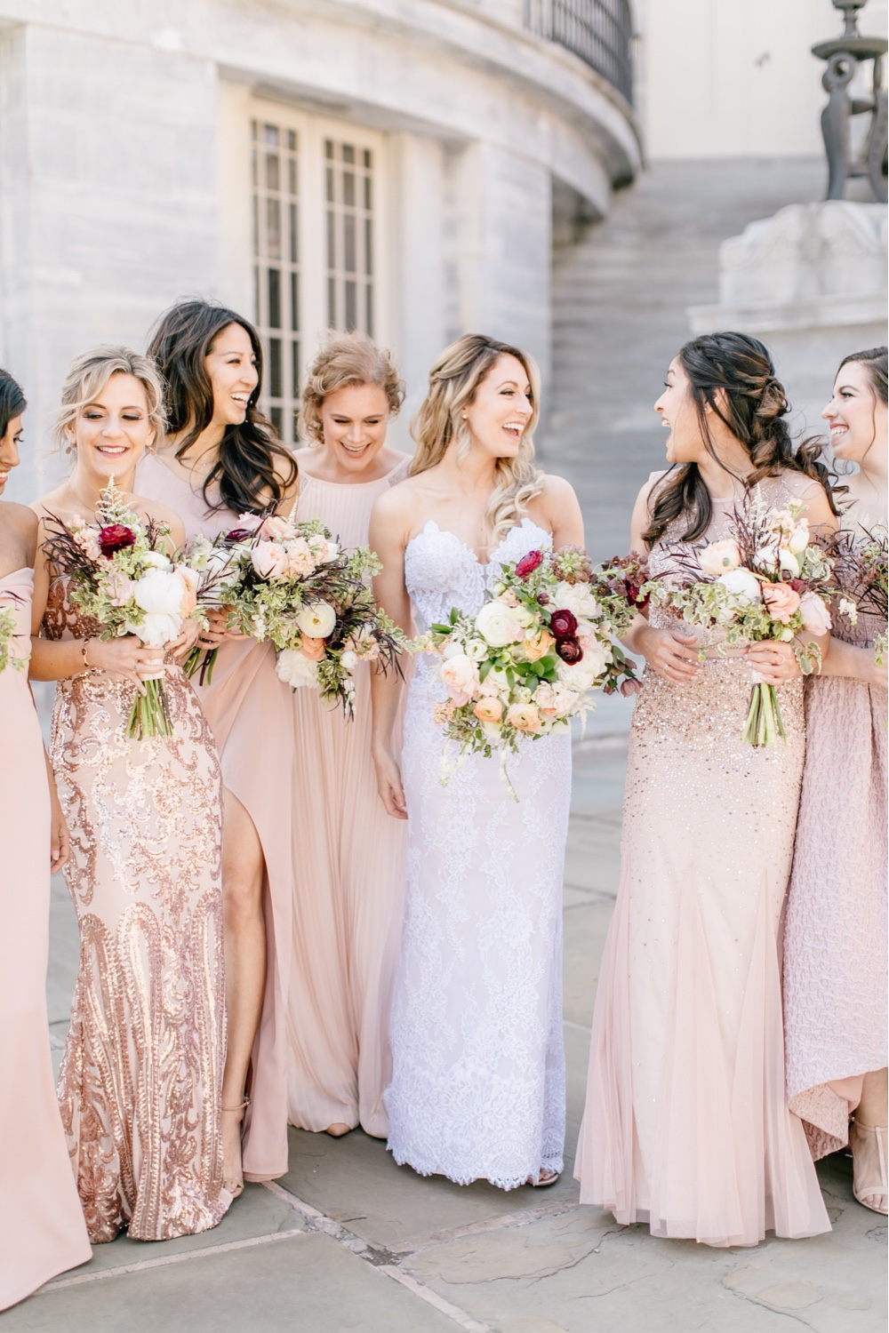 103 Bride And Bridesmaid In Pink Dresses Old Town Philadelphia Wedding