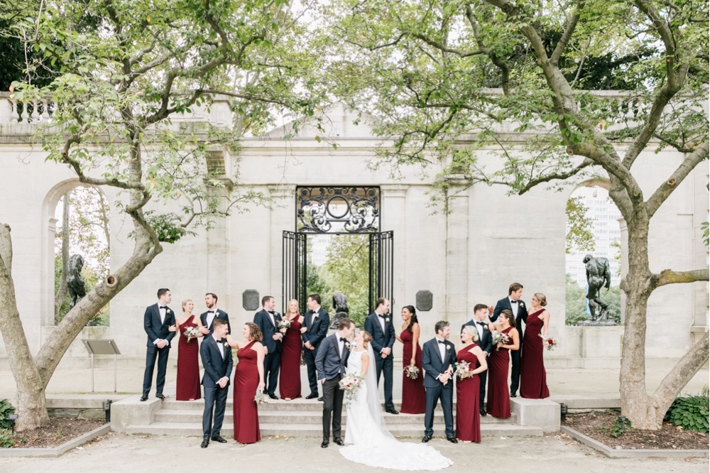 236 Burgandy Bridesmaid Dress Romantic Wedding Rodin Museum Wedding
